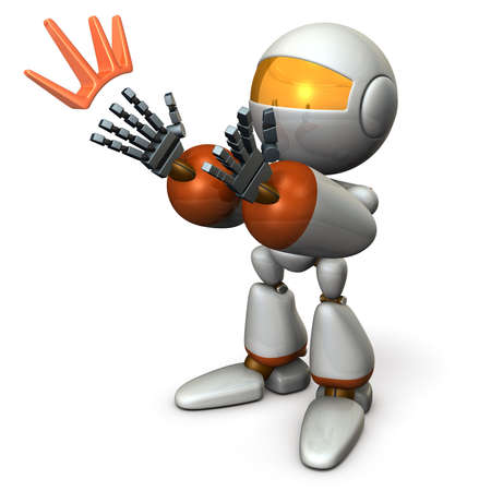 The robot applauds and compliments. It seems like it is seducing. 3D illustration Stock Photo
