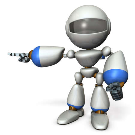 A cute robot that points to the left. It shows the direction to go. 3D illustration