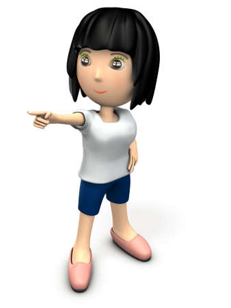 A cute woman pointing to the goal. She is wearing sportswear. 3D illustration