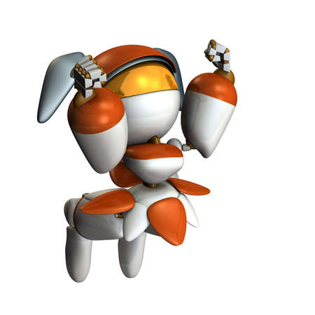 Cute robot to jump impressed. She has both hands on top. 3D illustration