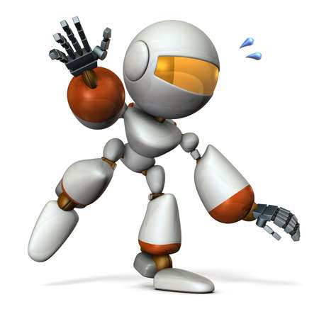 A cute robot that follows something. He is on the verge of falling.  3D illustration Stock Illustration - 105746043