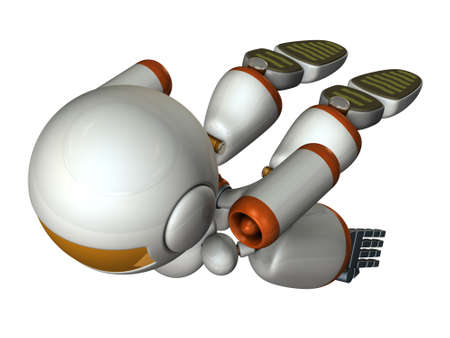 Cool robot flying in the sky. It is strongly brave.  3D illustration Banco de Imagens