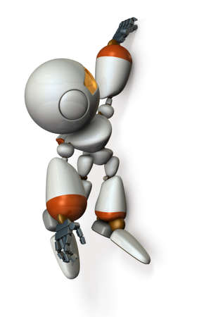 Robot is hanging with his fingers hanging on the wall. 3D illustration Stock Illustration - 105746052