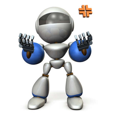 A robot that pushes up both hands and recovers. He is excited. 3D illustration