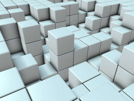 A virtual space composed of cubes. It is an abstract that expresses metabolism. 3D illustration 版權商用圖片