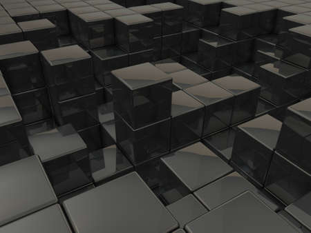 A virtual space composed of cubes. It is an abstract that expresses metabolism. 3D illustration Stock fotó