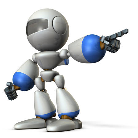 A cute robot that points to the right. It shows the direction to go. 3D illustration Stock Photo