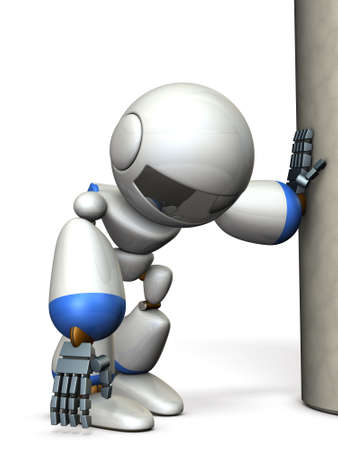 A robot that is hanging on a pillar. He is exhausted. 3D illustration
