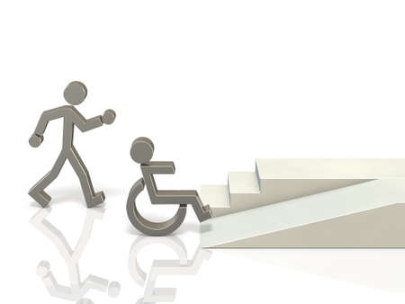 Coexistence of healthy and disabled people. It needs a social infrastructure that is easy to access. 3D illustration 写真素材