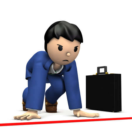 At the start line, young businessman to stand up. 3D illustration