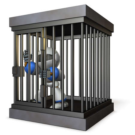 Robot restrained by prison. He is shouting false charges. 3D illustration Stock Photo