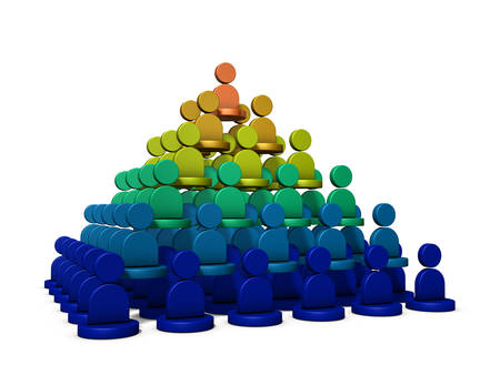 It is a pyramid structure, rank of power. It represents the structure of the organization. 3D illustration