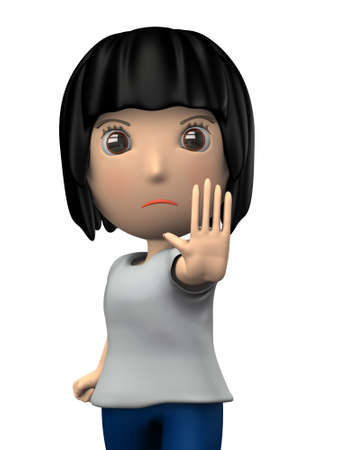 A woman standing up with his hands up. She is rejecting something. 3D illustration