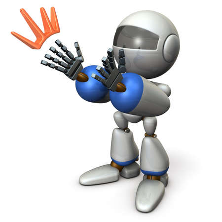 The robot applauds and compliments. It seems like it is seducing. 3D illustration Stok Fotoğraf