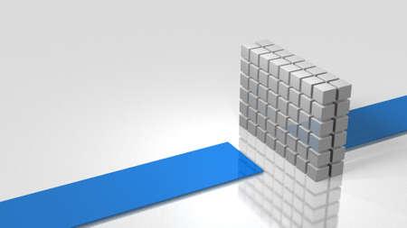 La pared bloquea el curso. Representa un accidente inesperado. Ilustración 3D