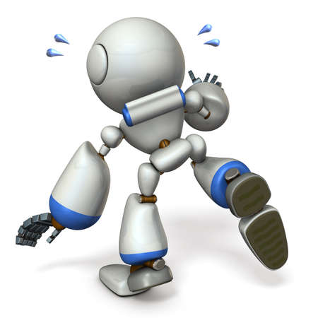 A cute robot that follows something. He is on the verge of falling. 3D illustration Stock Photo