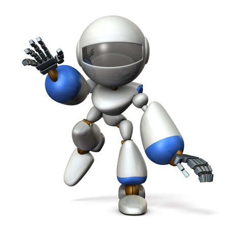 Robot running swiftly while swinging both hands. He runs toward here. 3D illustration 写真素材