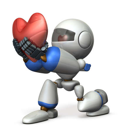 A cute robot who pledges loyalty to show sincerity. A big heart mark. 3D illustration Stok Fotoğraf - 112251358
