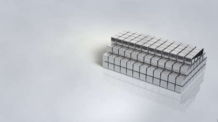 An exhibition stand with specular luster that shines silver. Structures with blocks stacked. 3D illustration