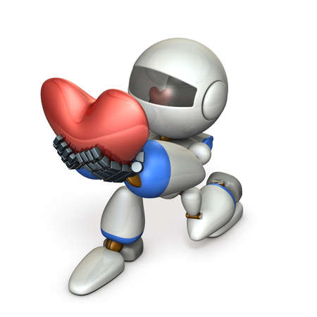 A cute robot who pledges loyalty to show sincerity. A big heart mark. 3D illustration Imagens - 113853539