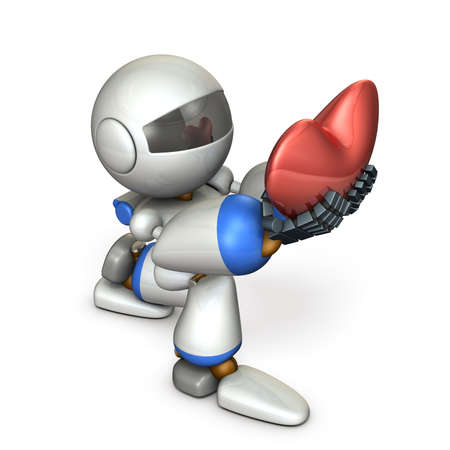 A cute robot who pledges loyalty to show sincerity. A big heart mark. 3D illustration