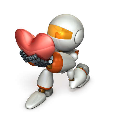 A cute robot who pledges loyalty to show sincerity. A big heart mark. 3D illustration Imagens - 113853544