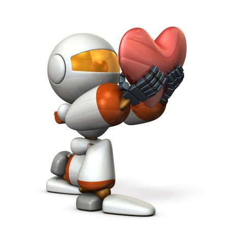 A cute robot who pledges loyalty to show sincerity. A big heart mark. 3D illustration Stok Fotoğraf - 113853545