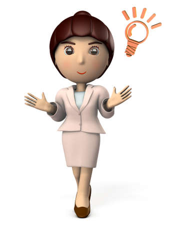 A young woman working in a suit. She seems to be kind and explain the solution. 3D illustration