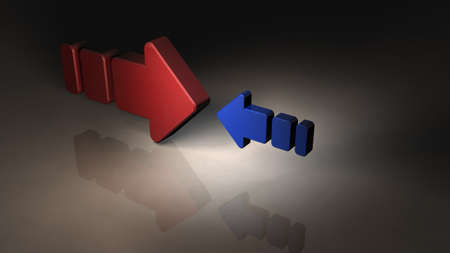 Two opposing arrows. They are unfair because their size is totally different. 3D illustration.