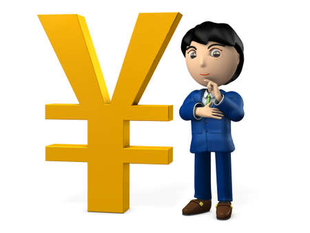A big Yen sign. A young businessman is standing near by it proudly. 3D illustration