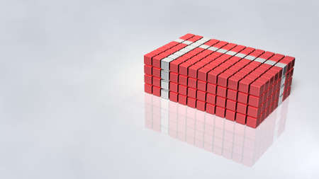 An image of a wrapped dressing box made up of blocks. 3D illustration Stock fotó