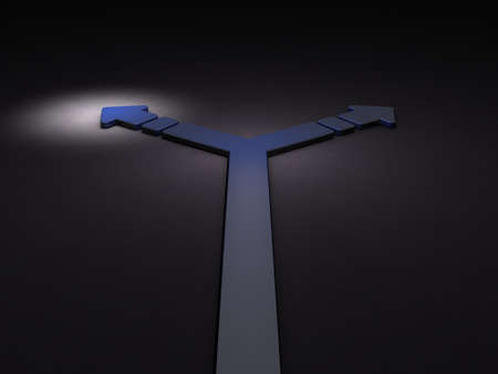 Turning the arrow to the left. It implies the choice of course.3D illustration. Dark background. Blue Arrow. Stock Photo