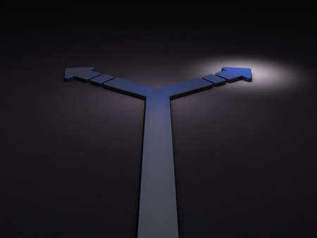 Arrow turning to the right. It implies the choice of course. 3D illustration. Dark background. Blue Arrow. Stok Fotoğraf