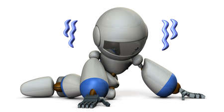 A pathetic robot lying on the floor. It is full of disappointment. White background. 3D illustration. Stock Photo
