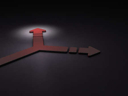 Arrow turning to the right. It implies the choice of course. 3D illustration. Dark background. Blue Arrow. Stock Photo