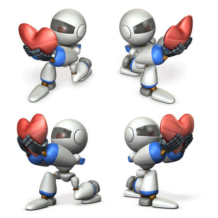 Cute robots who pledges loyalty to show sincerity. A big heart mark. 3D illustration Stok Fotoğraf - 114993658