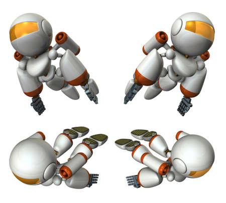 Cool robot flying in the sky. It is strongly brave.  3D illustration Banque d'images - 114993660