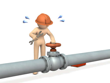 A thick pipe and an engineer who repairs in front of the valve. He works hard. White background. 3D illustration. Stock Photo