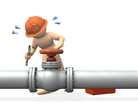 A thick pipe and an engineer who repairs in front of the valve. He works hard. White background. 3D illustration. Banco de Imagens