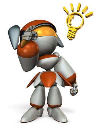 Cute robot boasts ability, pointing its head.  3D illustration. White background.