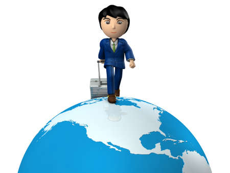 A young businessman traveling the world by pulling suitcase. Great globe. USA. White background. 3D illustration.
