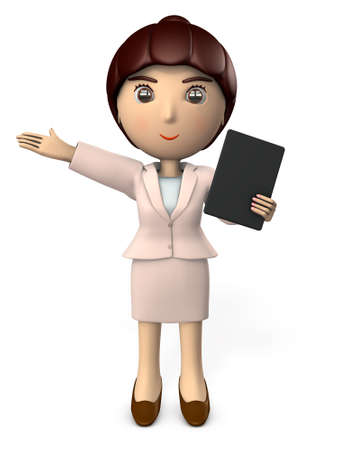 A young woman giving a presentation using tablet terminal. 3D illustration