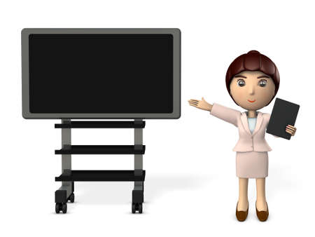 A young woman giving a presentation using a computer display and a tablet terminal. 3D illustration