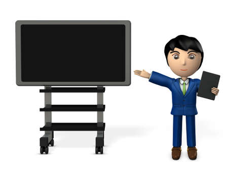 Young business man who presents with computer display and tablet terminal. 3D illustration