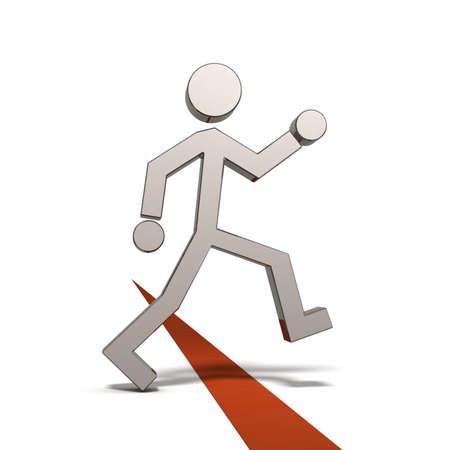 A person crossing the boundary line. It represents an intrusion into the new world. White background. 3D illustration.