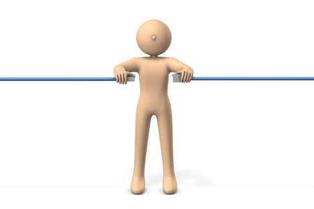 People who relay the network cable. White background. 3D illustration. Network technology. concept