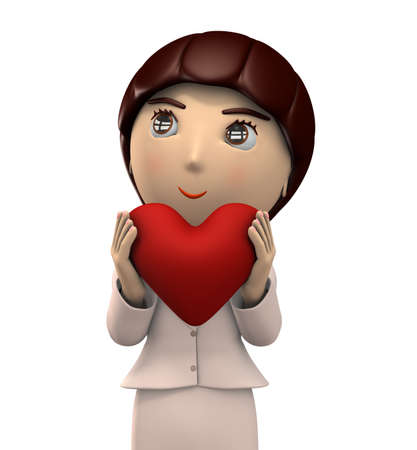 A young lady with big heart mark with both hands. She is wearing a business suit. 3D illustration. Upper eyesight