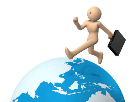 A busy businessman. He travels all over the world. White background. 3D illustration Stock Photo