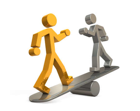 Abstract showing personnel evaluation. Two characters on the seesaw. White background. Concept image. 3D illustration
