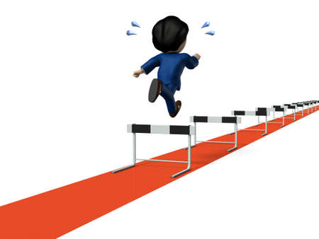 Beginning of a long work experience. A young businessman who began running hurdle race. Rear view. White background. 3D illustration.